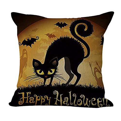 ChezMax Cotton Linen Halloween Black Cat Pattern Pillow Square Decor Sofa Cushion Decorative Throw Pillow 18