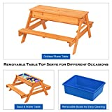 JOYMOR 3 in 1 Kids Picnic Table with Umbrella and 2
