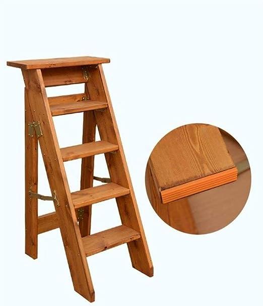 taburete plegable Escalera de madera plegable de 3 niveles Adder de color marrón tuerca oscuro en madera maciza Escaleras retro Hogar de madera maciza Escalera recta giratoria Escaleras de iibrary (Color: B):