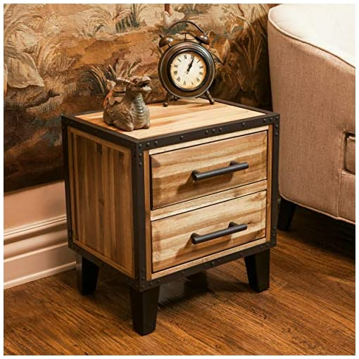 Bedroom Christopher Knight Home Lina Acacia Wood Two Drawer Night Stand, Natural Stained farmhouse nightstands