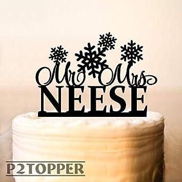 Christmas Wedding Cake Toppers.Snowflake Cake Topper Cake Bunting Winter Wedding Cake