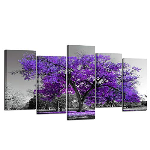 Kreative Arts Purple Tree Wall Art for Living Room Landscape Canvas Prints 5 Panel Black Picture Modern Artwork Contemporary Nature Painting Stretched and Framed Ready to Hang (XLarge Size 80x40inch) ()