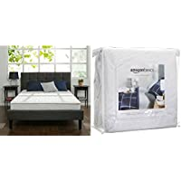 Zinus 8 Inch Hybrid Green Tea Foam and Spring Mattress, Queen with AmazonBasics Hypoallergenic Vinyl-Free Waterproof Mattress Protector, Queen