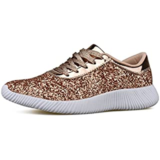 Womens Wedge Platform Fashion Sneaker Glitter Metallic Lace Up Sparkle Slip On Street Casual Running Shoes Rose Gold 7.5