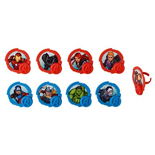 National Cake Supply Marvel Avengers Mightiest Hero Cupcake Rings - 24 Count -