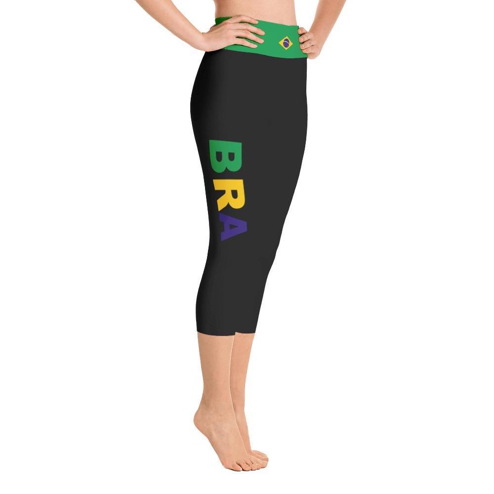 914 Sports Designs Brazil Black Yoga Capri Leggings with Brazilian Flag