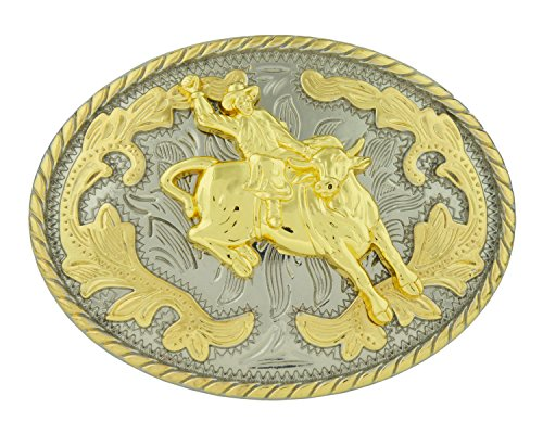RIDE AWAY Rodeo Bull Rider Western Style Gold Color Small Oval Belt (Bull Rider Buckle)