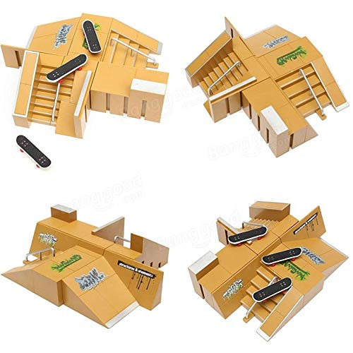 Tech Deck Finger Board Skate Park Ramp Parts Finger Board Ultimate Parks 92B - Gadget Toys Novelties - 2 x handrail, 3 x Fingerboards, 6 x Ramp, 14x Small Accessories by Unknown