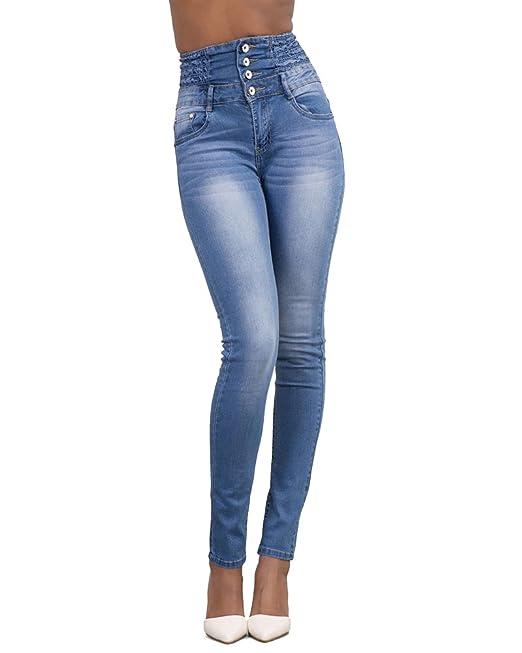 69402aad95 Jeans Vita Alta Donna Skinny Denim Pantaloni Slim Fit Legging Elasticizzati