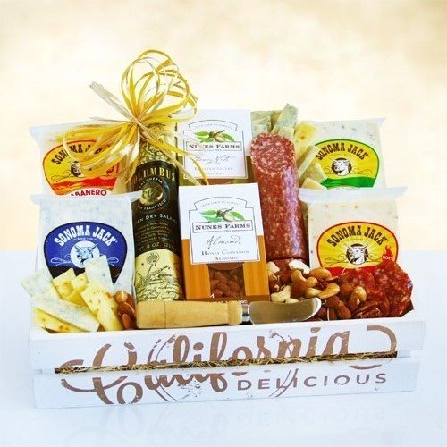 Meat and Cheese Gift Basket with Nuts
