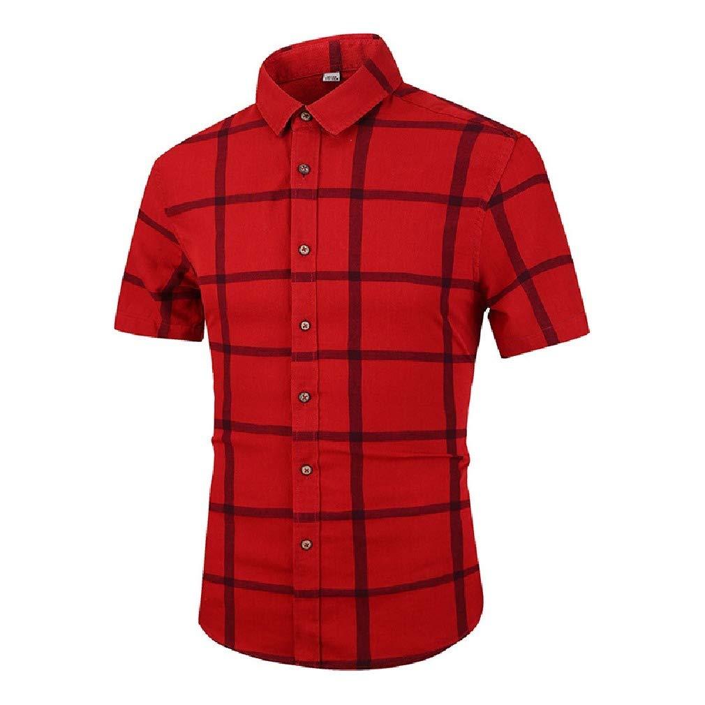 Fseason-Men Plaid Classic-Fit Summer Casual Loose Short-Sleeve Longshirt
