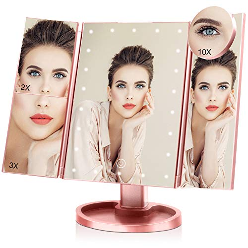 Makeup Mirror with 10X 3X 2X 1X Magnification, Touch Screen Trifold Vanity Mirror 22 LED Cosmetic Lighted Up Mirror, Dual Power Supply