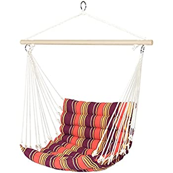 Wonderful Best Choice Products Deluxe Padded Cotton Hammock Hanging Chair Indoor  Outdoor Use  Orange