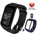 Fitness Tracker - FUNBOT Activity Tracker Continuous Heart Rate Monitor Smart Bracelet IP67 Waterproof Fitness Watch Sleep Monitor Pedometer Calorie Counter with Replacement Band for Android & iOS