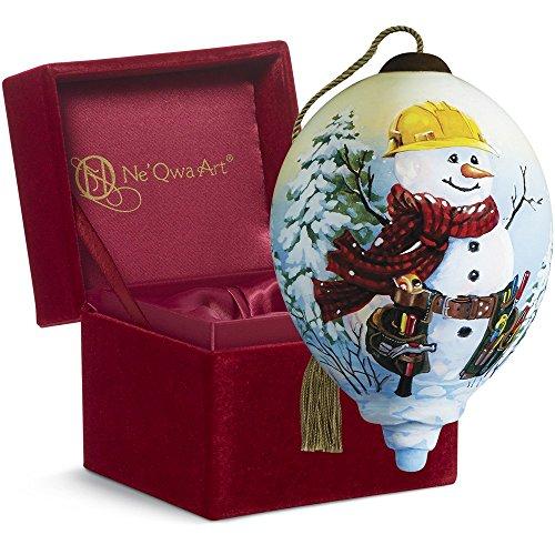 "Snowman Hand Painted Ornaments - Ne'Qwa Art,, Handy Helper Snowman"" Artist Dona Gelsinger, Petite Princess-Shaped Glass Ornament, 7161190"