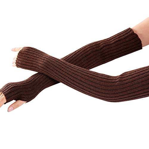 (URIBAKE Women's Arm Wrist Warmer Wool Knitted Solid Fingerless Winter Thermal Gloves Mittens Knitwear)