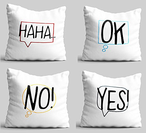 Haha OK No Yes Throw pillows set of 4 funny gift idea fun expressions pillowcases glider cushion cover outdoor teens decorative pillow cute pillow case
