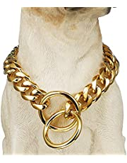 "18K Gold Dog Collar Heavy Duty Choke Miami Cuban Dog Chain,Width 15mm,Strong Stainless Steel Metal Links Slip Chain Luxury Training Collar Necklace for Large Medium Dogs (24inch(Fit for20-22""Dog's Neck), Gold)"