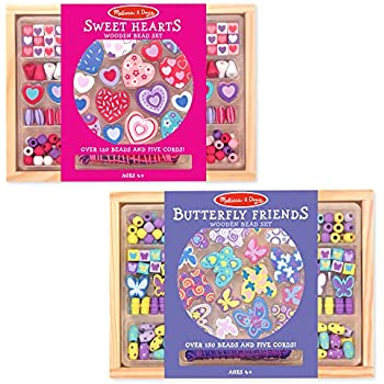 Melissa & Doug Sweet Hearts and Butterfly Friends Bead Set of 2 - 250+ Wooden Beads