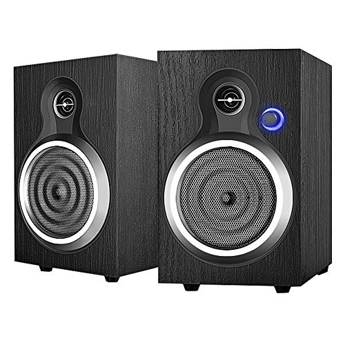 INSMART Computer Speakers Wooden, 2.0 Stereo Volume Control with LED Light 10W USB Powered Mini Speakers for PC/Laptops/Desktops/Phone/Ipad/Game Machine