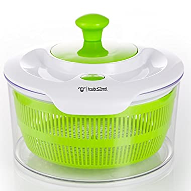 Salad Spinner with Large 5.0 Quart Bowl, Storage Lid and Lettuce Knife