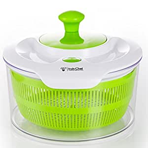 Large Salad Spinner with 5.0 Quart Bowl Plus Extra Storage Lid for Convenience. Lettuce Washer Dryer and Keeper