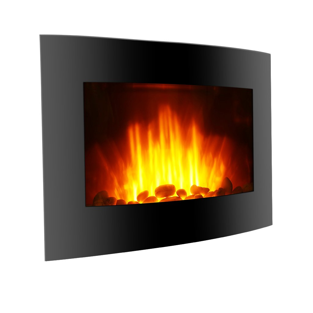 Finether 1500W Adjustable Wall Mounted Electric Fireplace Heater with 3D Patented Flame, 7 Color Changeable LED Backlight and Remote Control, Black