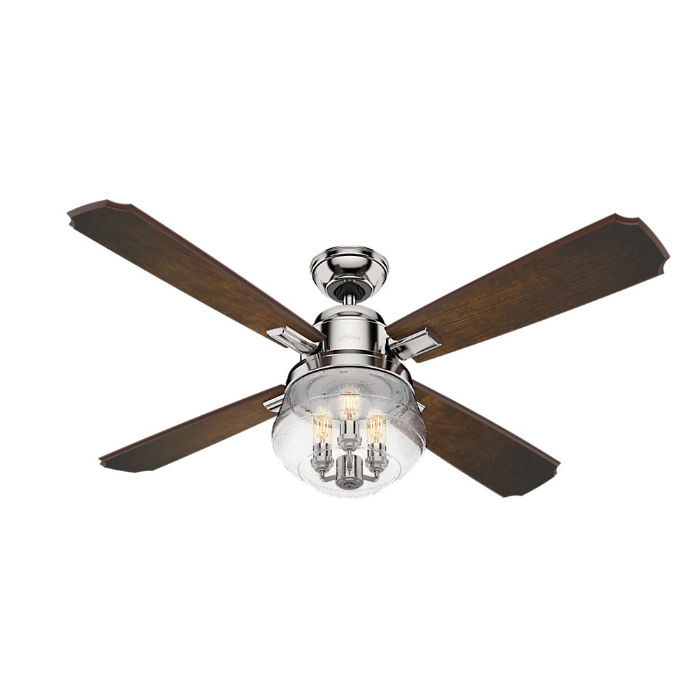 Hunter 59271 54 sophia ceiling fan with light with handheld remote hunter 59271 54 sophia ceiling fan with light with handheld remote large polished nickel amazon mozeypictures Image collections