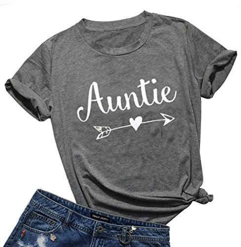 EGELEXY Mother's Day Casual Aunt Tee Auntie Arrow Print Summer Short Sleeve T-Shirt Tops Tee Birthday Gift Size M (Gray)