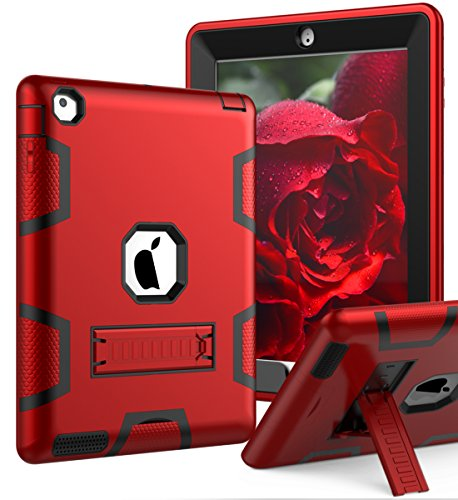 iPad 4 Case,iPad 3 Case,iPad 2 Case,TIANLI(TM) ArmorBox [Three Layer] Convertible [Heavy Duty] Rugged Hybrid Protective With KickStand Case For iPad 2/3/4 Generation,Red/Black
