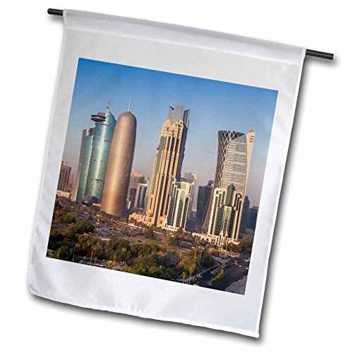 3dRose Danita Delimont - Cities - Qatar, Doha, Doha Bay, West Bay Skyscrapers, elevated view, dawn - 12 x 18 inch Garden Flag - View Gulf Square