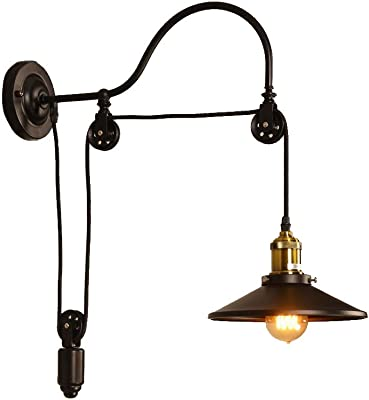 Pulley Wall Mount With Industrial Cage Light And Wooden