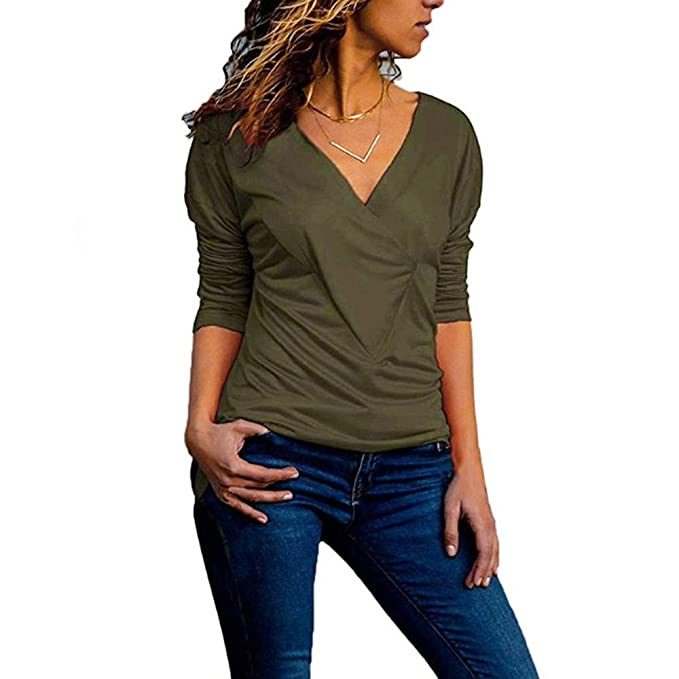 Luckycat Forme a Mujeres la Camiseta sólida con Cuello en v Office Ladies Plain Roll Sleeve