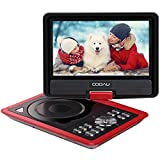 COOAU 11.5'' Portable DVD Player with 9.5'' Swivel Screen, 5 Hour Rechargeable Battery, Support USB/SD Card, Direct Play in Formats AVI/RMVB/MP3/JPEG, Red