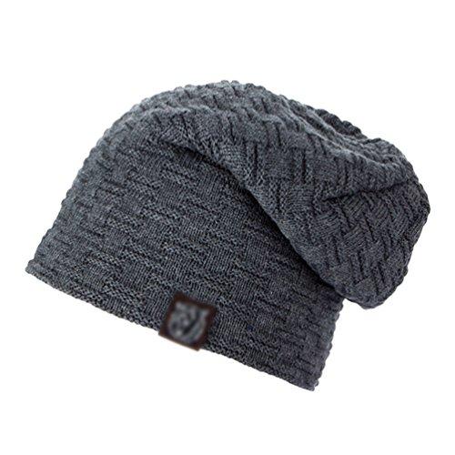 Exquisito Gorro Diseño de Casual Gris de Cálido Sombreros Invierno Punto Hombre Cómodo YiJee q0wfaSwz
