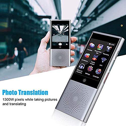 YQG Smart WiFi Traduttore Istantaneo Vocale,Portatile con GPS Mini Bluetooth Dispositivo Touch Screen 2.8IPS Studiare Affari,Grigio Supporto 45 Lingue per Viaggiare