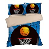 Fantastic Blue Basketball Cotton Microfiber 3pc 90''x90'' Bedding Quilt Duvet Cover Sets 2 Pillow Cases Queen Size
