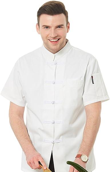 Dooxii Unisexo Mujeres Hombre Moda Verano Manga Corta Camisa de Cocinero Moda Hebilla de Tela Chaquetas de Chef Uniforme Cocina Restaurante Occidenta: Amazon.es: Ropa y accesorios