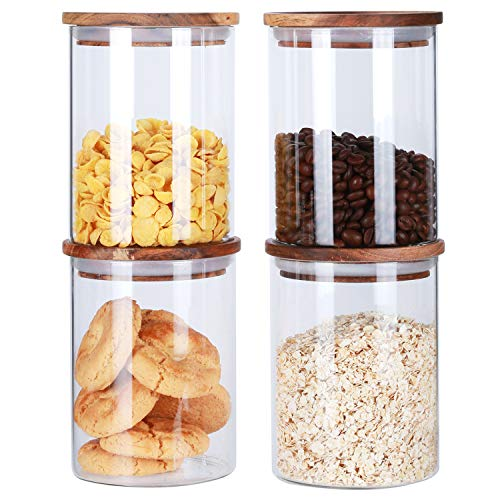 Clear Glass Canisters With Airtight Lids Air Tight Glass Dry Food Storage Jars Containers With Wood Lids For The Kitchen Loose Leaf Tea Storage Canisters Cookie Candy Jars 25Floz 4 ()