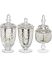 MyGift Decorative Mercury Silver Glass Apothecary Jars/Wedding Centerpiece/Footed Candy Dishes - 3 Piece Set