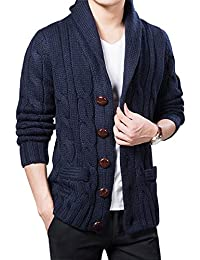 Men's Casual Slim Thick Knitted Shawl Collar Cardigan Sweaters Pockets