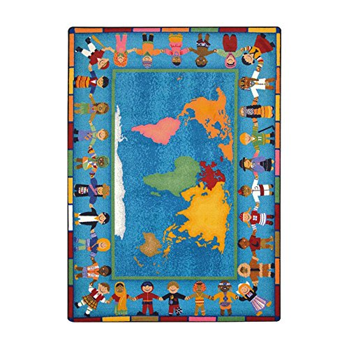 Joy Carpets Kid Essentials Early Childhood Hands Around The World Rug, Multicolored, 7'8