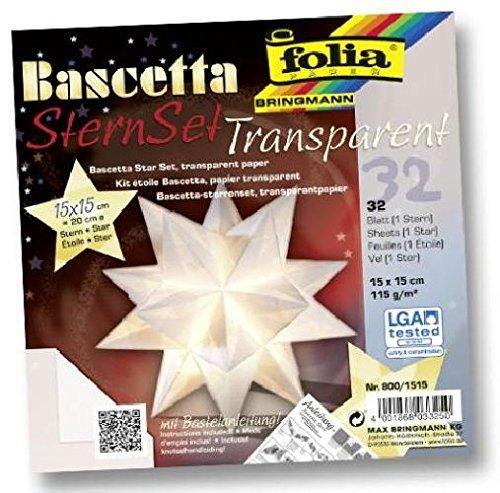 Bascetta Stern Bastelset Transparentpapier 115g//m/² 15x15 cm 32 Blatt wei/ß Folia 800//1515