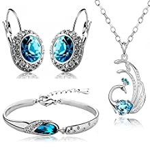 Valentine Gift by Shining Diva Blue Crystal Combo Jewellery of Necklace Set / Pendant Set With Earrings & Bracelet For Girls and Women