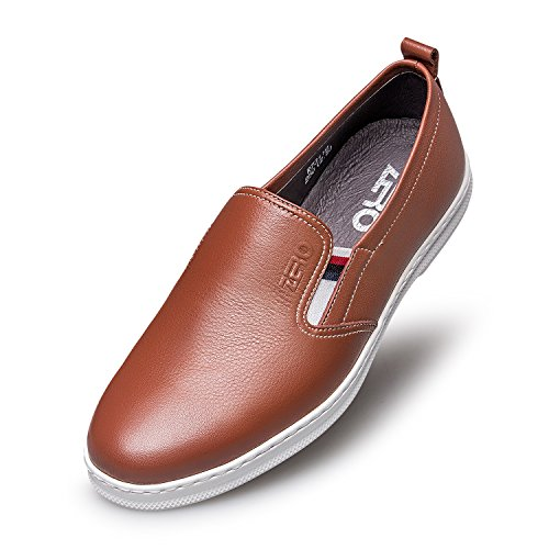 ZRO Mens Modern Slip-On Fashion Casual Leather Shoe Breathable Light Brown