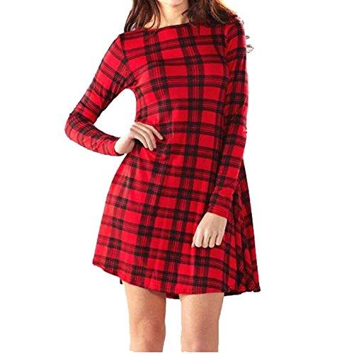 Red / Black Tartan checked long sleeve swing dress