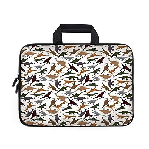 Jurassic Decor Laptop Carrying Bag Sleeve,Neoprene Sleeve Case/Pattern with Dinosaurs Enormous Museum History Cartoony Illustration/for Apple MacBook Air Samsung Google Acer HP DELL Lenovo ()