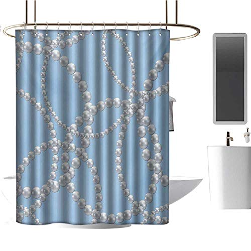 Qenuan Extra Wide Shower Curtain Pearls,Pearl Necklace Bracelet Classic Women Bridal Groom Shower Theme Feminine Art,Baby Blue White,100% Polyester Fabric Bathroom Drapes 36