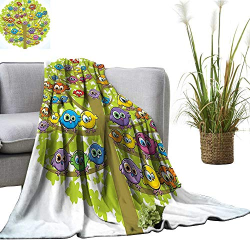 YOYI Home Fashion Blanket Group Fun Colorful Canary Bird Oak Tree Branch Animal Lightweight Blankets for Couch Bed Sofa 70