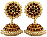 India4you Imitation Gold Polished Brass with Kemp & Pearls Bharatanatyam Dance Temple Jewelry Earring Jumka Jimikki Set